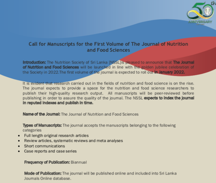 Call for Manuscripts for the First Volume of The Journal of Nutrition and Food Sciences